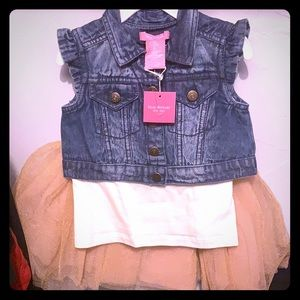 Baby girls 3pc set, Jean jacket, top & tutu skirt
